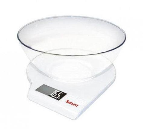 Весы кухонные с чашей Saturn ST-KS7803 (Белый), фото 2