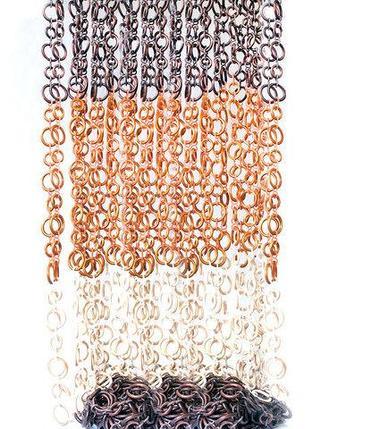 Занавески для дверного проема «Круглые кольца» (Светло-коричневый/белый/темно-коричневый), фото 2