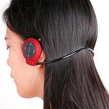 Наушники беспроводные Bluetooth с MP3-плеером Mini-503TF для занятия спортом (Красный), фото 3