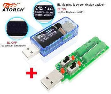 Цифровой USB тестер-вольтамперметр с OLED дисплеем ATORCH 12-в-1 (с нагрузочным резистором)