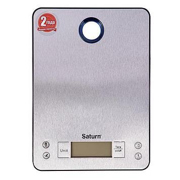 Весы кухонные Saturn ST-KS7804, Допустимый вес: 5 кг, Точность: 1 г, Замер горячих продуктов, Нержавеющая стал
