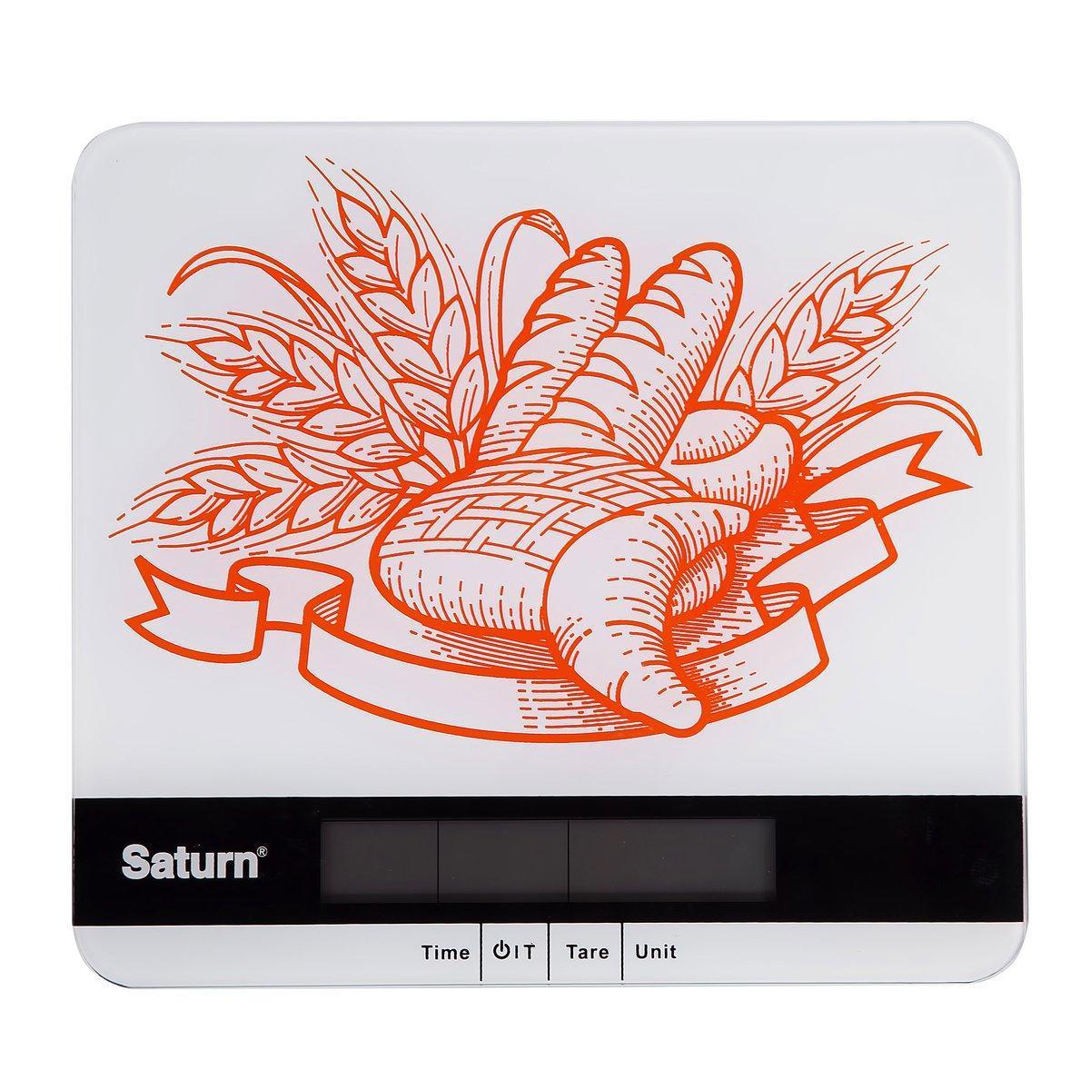 Весы кухонные ультратонкие Saturn ST-KS7807, Допустимый вес: 5 кг, Точность: 1 г, Часы, Таймер, Термометр, Зам