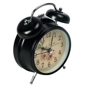 Часы-будильник в винтажном стиле «Flower Beautiful» (Черный)