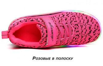 Кроссовки роликовые детские с подсветкой Aimoge (38 / Розовая), фото 3