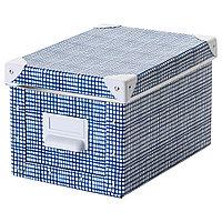 Коробка с крышкой ФЬЕЛЛА белый, синий ИКЕА, IKEA , фото 1