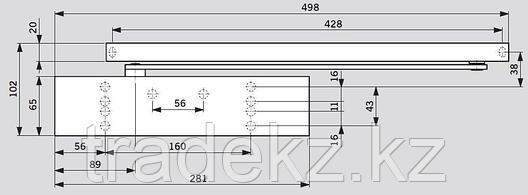 Доводчик дверной Dorma TS 92B EN 2-4, без шины, со скользящим рычагом, серебро, фото 2