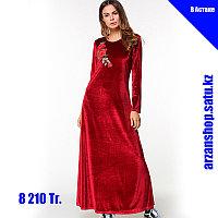 Длинное платье бордовое вельветовое с розой на груди