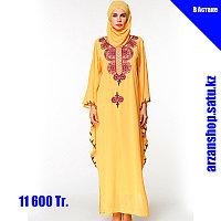 Мусульманское платье светло желтого цвета из шифона, фото 1