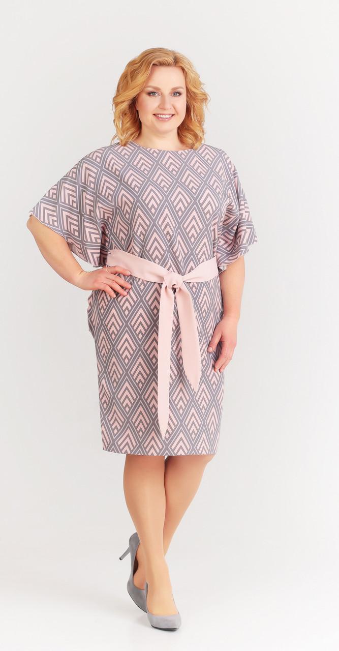 Платье Swallow-059/2, серо–розовый (ромб), 50