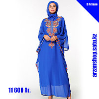 Мусульманское платье синего цвета из шифона, фото 1