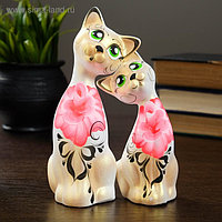 """Фигура """"Love Коты"""" ушастые 7×13×17см бел/золото (набор 2 шт) 215"""