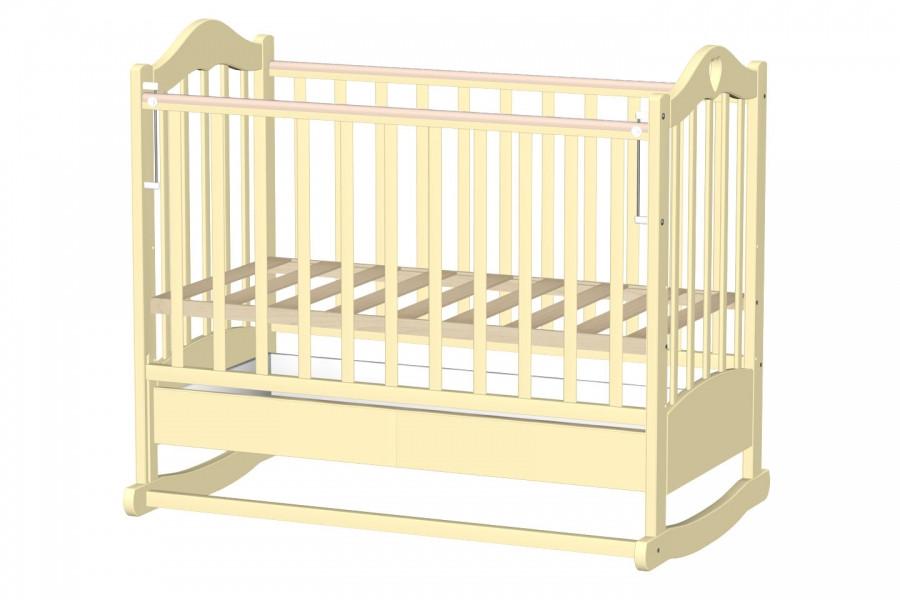 Кровать детская ВЕДРУС ЛАНА 2 колесо/качалка Слоновая кость
