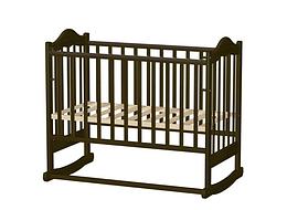 Кровать детская ВЕДРУСС ИРИШКА-6 колесо/качалка Темный орех