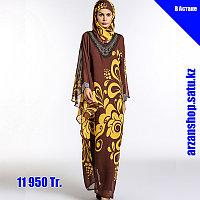 Шифоновое мусульманское платье красного цвета с узорами, фото 1