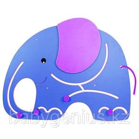 """Настенный модуль для развития моторики """"Слон"""", панель Монтессори развивающая, фото 2"""