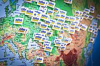 География поставок бетонных заводов и оборудования ZZBO, флажками на карте