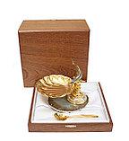 Икорница Корейский осетр. Ручная работа, золото, агат, никель, фото 2