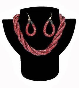 Комплект ожерелье плетенное и серьги «Звездная пыль» (Красный)