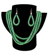 Комплект ожерелье тройное и серьги «Звездная пыль» (Красный), фото 2