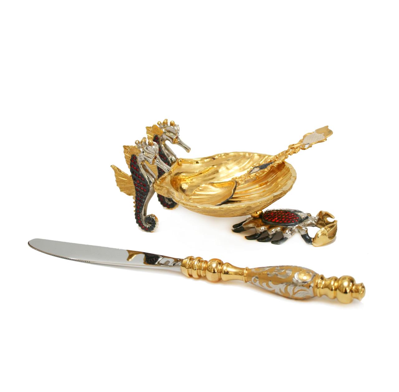Икорница Краб. Ручная работа, золото, никель