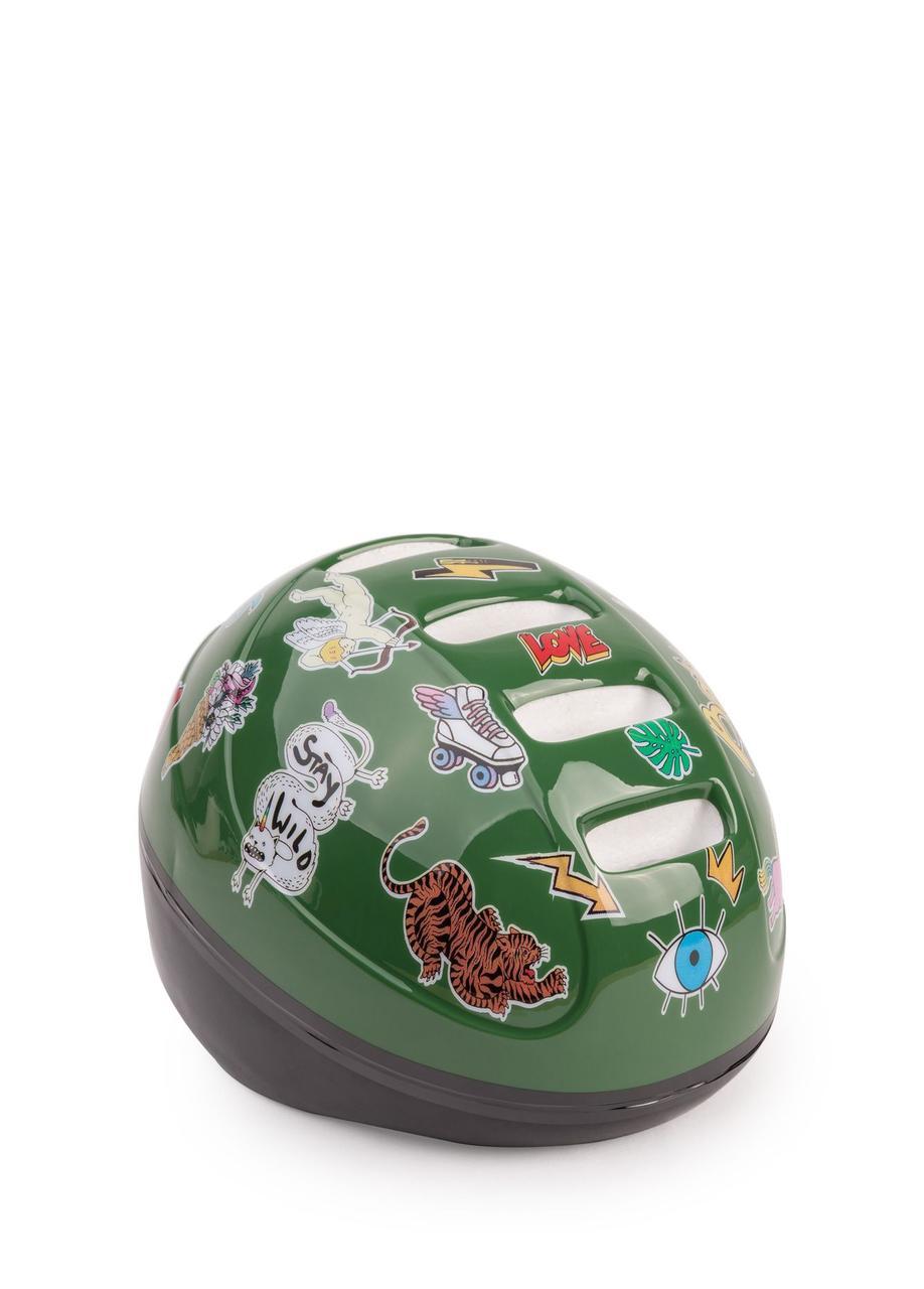 """Защитный велосипедный шлем Happy Babby """"Stonehead"""", зелёный (46-54 см)"""