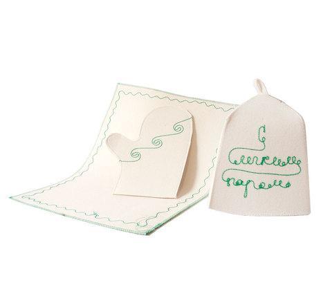 Набор для бани [шапка, коврик, рукавица] «С легким паром!»