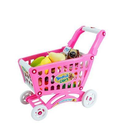 Игрушечная продуктовая тележка Shopping Cart BOHUI {83 предмета} (Розовый), фото 2