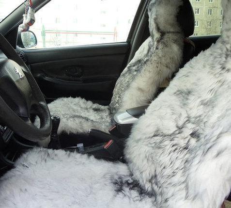 Чехол-накидка для автомобильного кресла меховой (Белый), фото 2