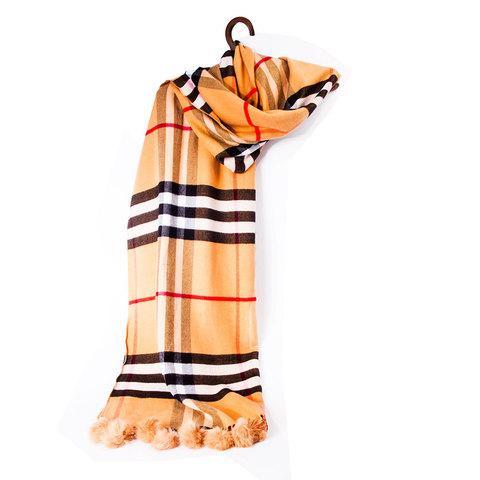 """Шарф-палантин с меховыми помпонами и узором от """"Burberry"""" [шерсть, кашемир] (Светло-коричневый)"""