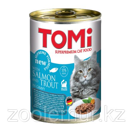 «TOMI» консервы для кошек 400г лосось и форель, кусочки в соусе