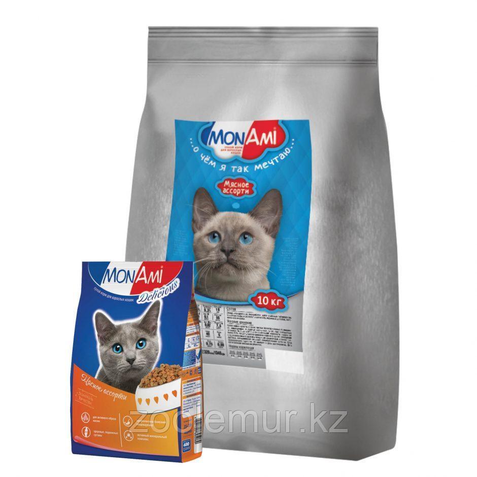 """Сбалансированный корм «МонАми» Мясное ассорти"""" 400 гр для взрослых кошек с нормальной физической активностью."""