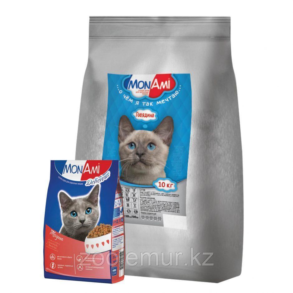 Сбалансированный корм «МонАми» Говядина 10 кг для взрослых кошек с нормальной физической активностью.