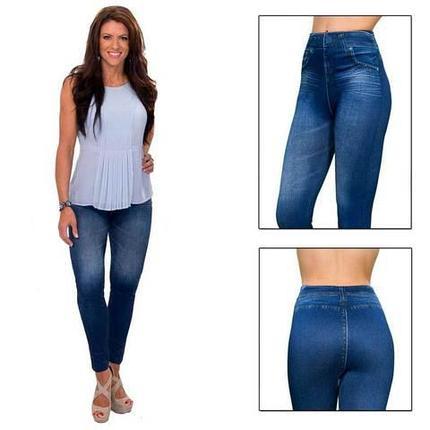 Джеггинсы корректирующие утепленные Slim'nLift Caresse Jeans [синие] (M), фото 2