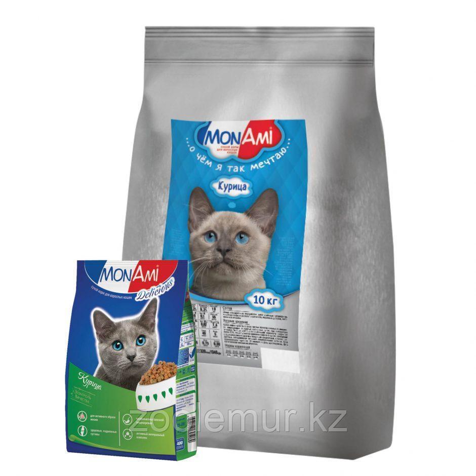 Сбалансированный корм «МонАми» Курица 10 кг для взрослых кошек с нормальной физической активностью.