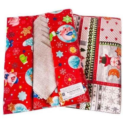 Скатерть новогодняя с 6 салфетками GaoYuan (Красный), фото 2