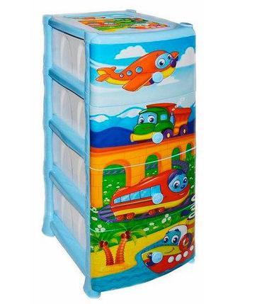 Комод пластиковый детский «Детские сны» [4 секции] (Путешествие), фото 2