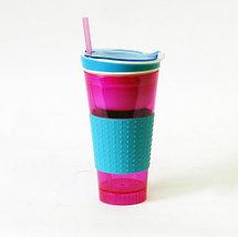 Стакан-непроливайка c контейнером для закусок Snackeez 2 в 1 (Розовый), фото 2