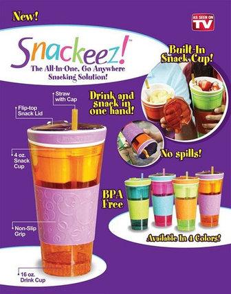 Стакан-непроливайка c контейнером для закусок Snackeez 2 в 1 (Голубой), фото 2