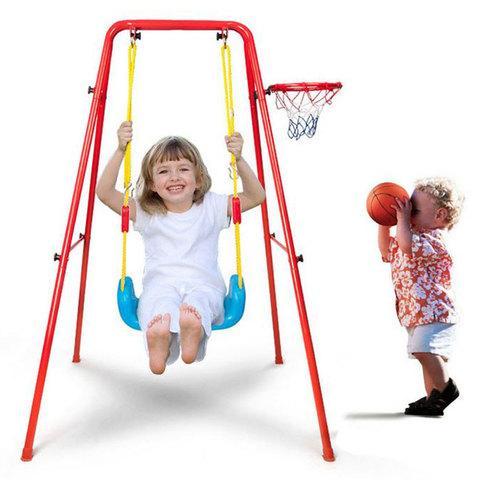 Качели детские с баскетбольным кольцом 2 в 1 Swing & Basketball