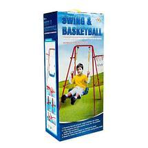 Качели детские с баскетбольным кольцом 2 в 1 Swing & Basketball, фото 2