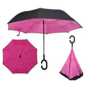 Чудо-зонт перевёртыш «My Umbrella» SUNRISE (Чёрная с розовым)