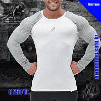 Облегающий реглан Doyoueven для занятий спортом белый с серыми рукавами, фото 1