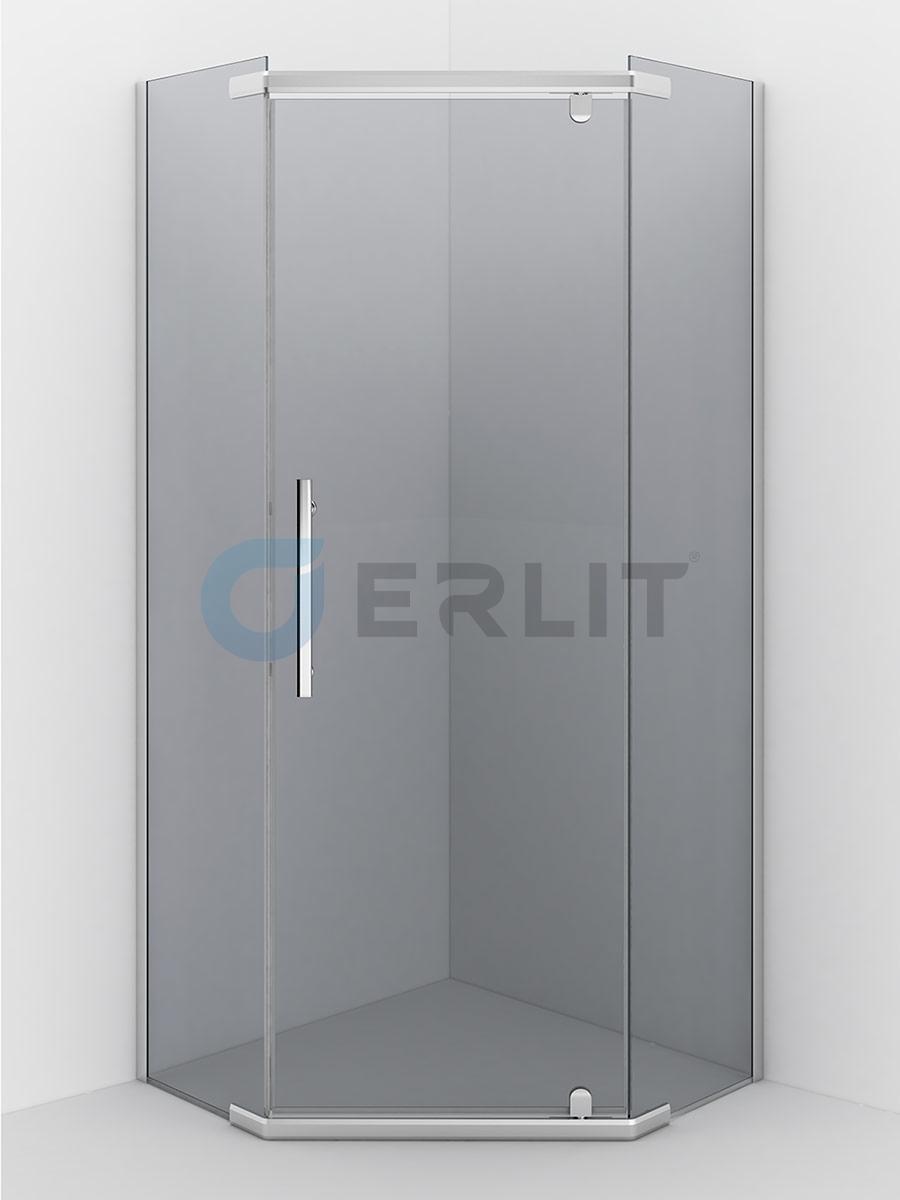 Душевое ограждение ERLIT  ER10110V-C4 1000*1000*2000 (пятиугольное) тонированное стекло
