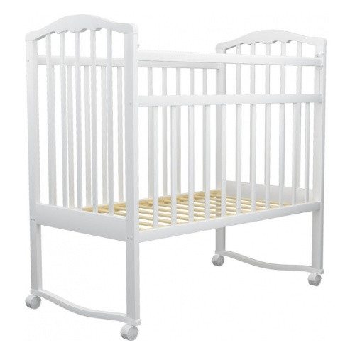 Кровать детская АГАТ ЗОЛУШКА-1 колесо/качалка Белый