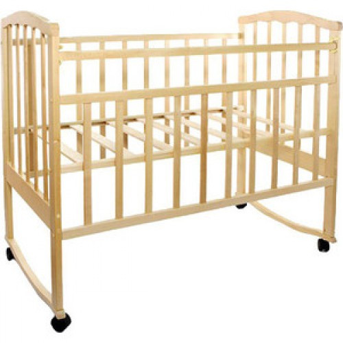 Кровать детская АГАТ ЗОЛУШКА-1 колесо/качалка Светлая