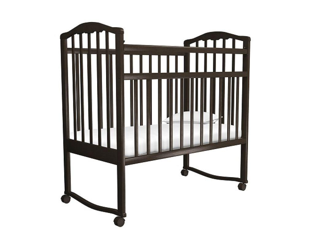 Кровать детская АГАТ ЗОЛУШКА-1 колесо/качалка Шоколад