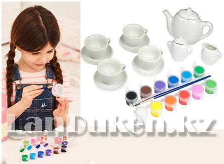 Набор для творчества Роспись керамики чайный сервиз ART (круглый чайник) (12 цветов, 11 посуд) - фото 2