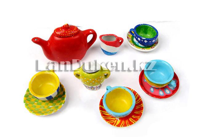 Набор для творчества Роспись керамики чайный сервиз ART (круглый чайник) (12 цветов, 11 посуд) - фото 4