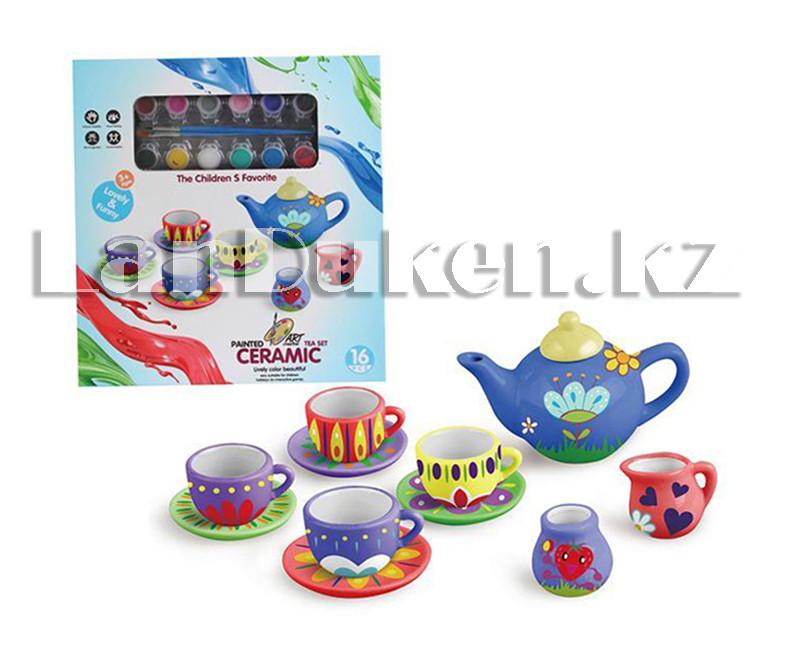 Набор для творчества Роспись керамики чайный сервиз ART (круглый чайник) (12 цветов, 11 посуд) - фото 1