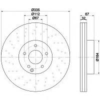Тормозные диски Mercedes S-Class S280-S350 W221 (передние, Meyle, D335)